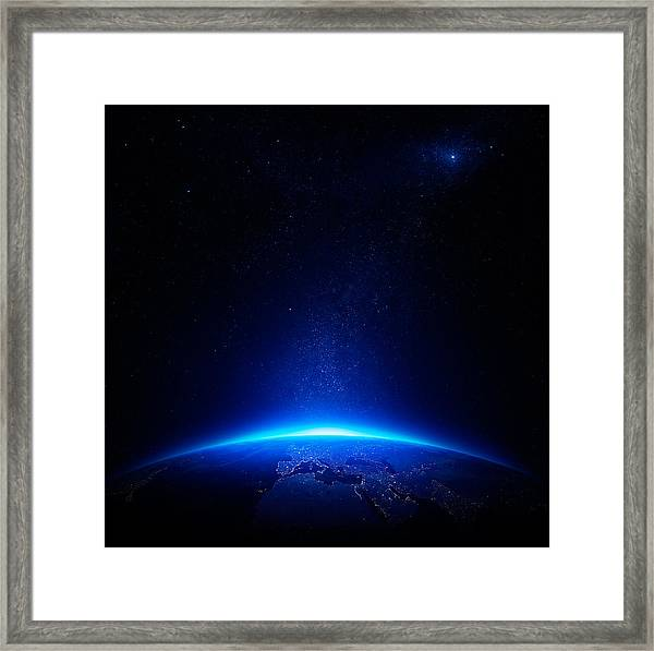 Earth At Night With City Lights Framed Print