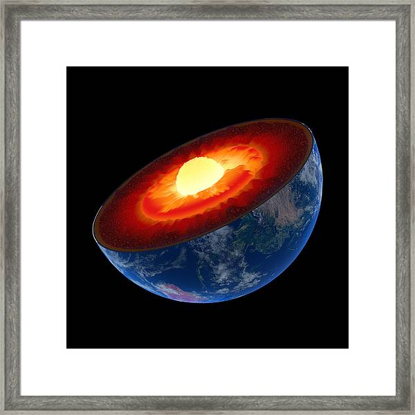 Earth Core Structure To Scale - Isolated Framed Print