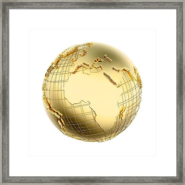 Earth In Gold Metal Isolated - Africa Framed Print