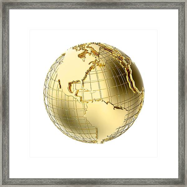 Earth In Gold Metal Isolated On White Framed Print