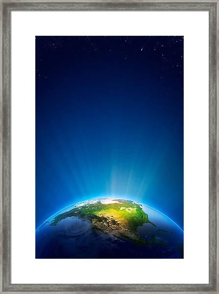 Earth Radiant Light Series - North America Framed Print