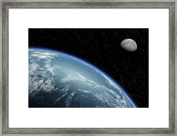 Earth With Cloud Cover And Moon Framed Print