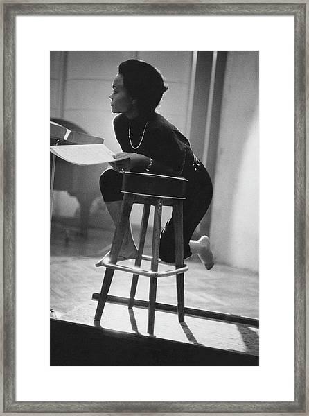 Eartha Kitt On A Stool Framed Print