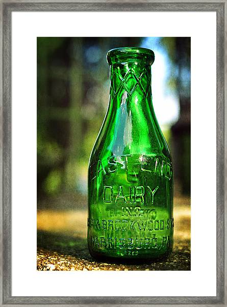 East End Dairy Green Milk Bottle Framed Print