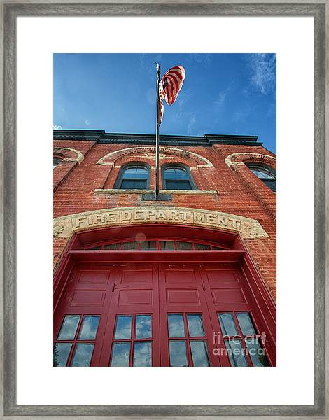 Framed Print featuring the photograph East End Fire Station Looking Up by Kari Yearous