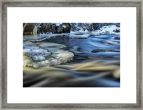 Eau Claire River Ice Framed Print