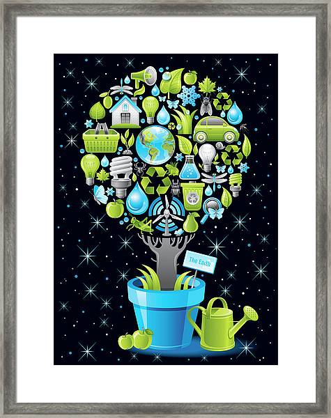Ecological Poster With Tree In Framed Print