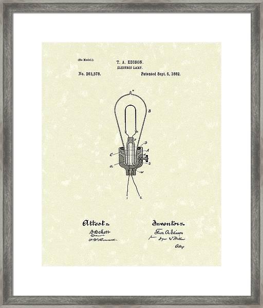 Edison Electric Lamp 1882 Patent Art Framed Print
