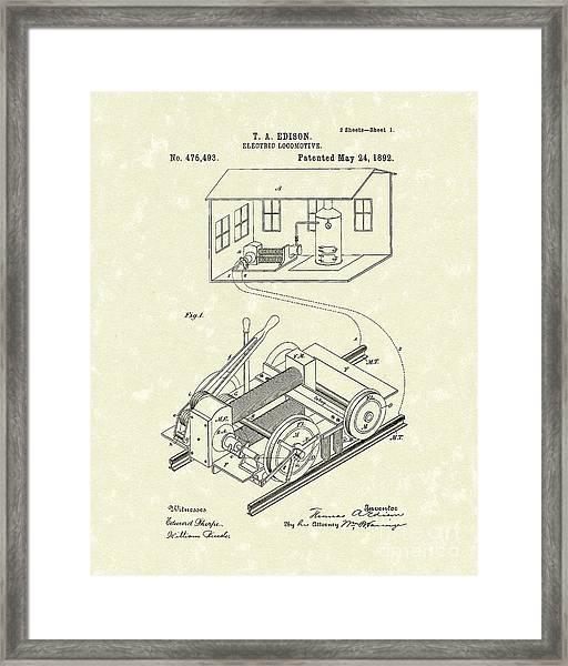 Edison Locomotive 1892 Patent Art Framed Print by Prior Art Design