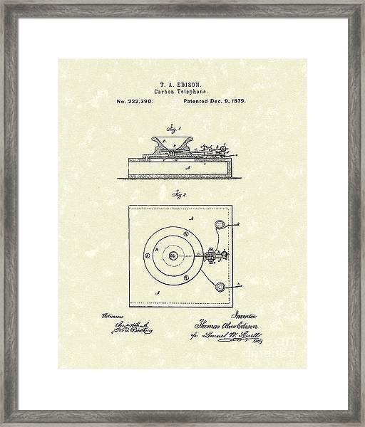 Edison Telephone 1879 Patent Art Framed Print