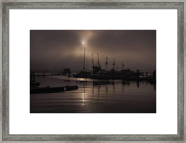 Eerie Morning Fog St. Augustine Marina Framed Print