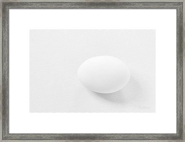 Egg On White Tablecloth Framed Print