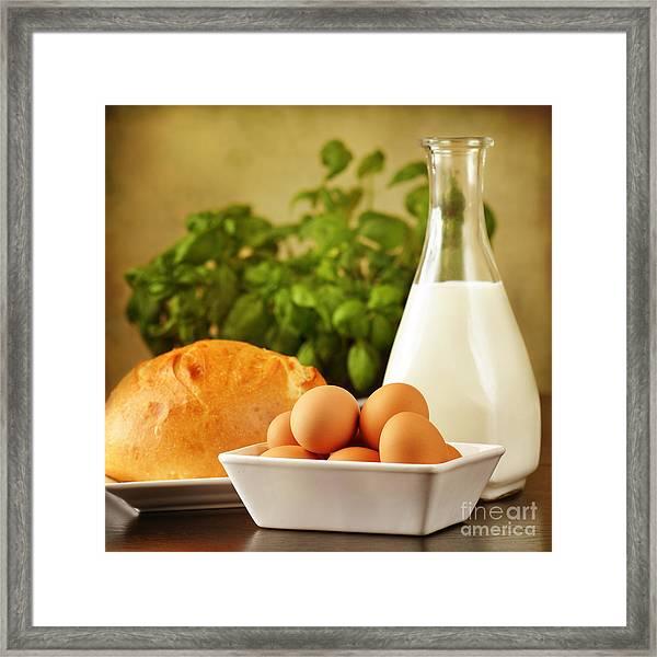Eggs Bread And Milk Framed Print