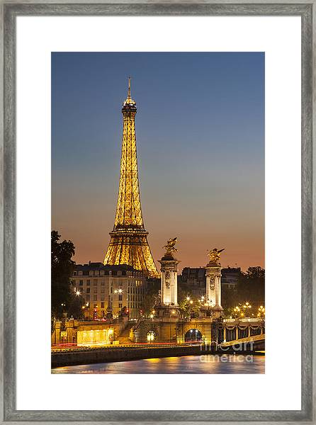 Framed Print featuring the photograph Eiffel At Twilight by Brian Jannsen