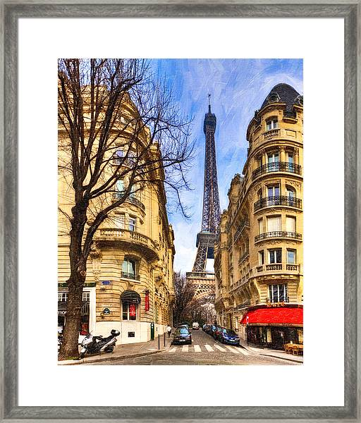 Eiffel Tower And The Streets Of Paris Framed Print