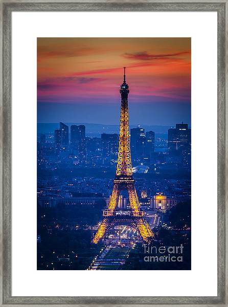 Framed Print featuring the photograph Eiffel Tower At Twilight by Brian Jannsen