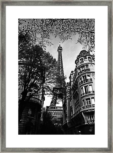Eiffel Tower Black And White Framed Print