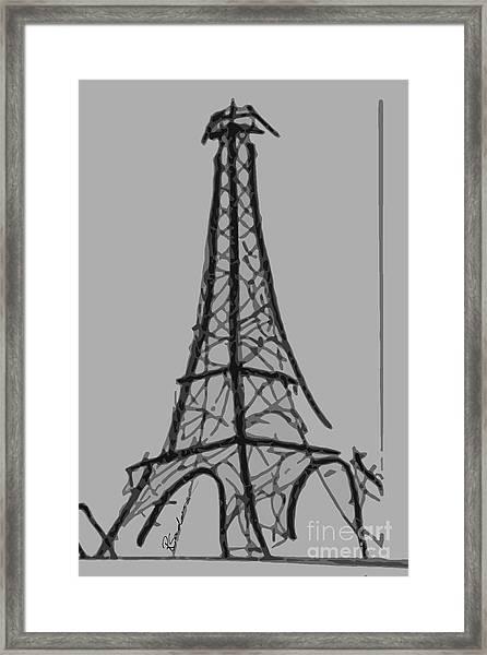 Eiffel Tower Lines Framed Print