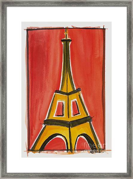 Eiffel Tower Orange And Yellow Framed Print