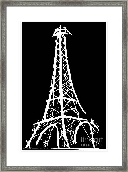 Eiffel Tower Paris France White On Black Framed Print