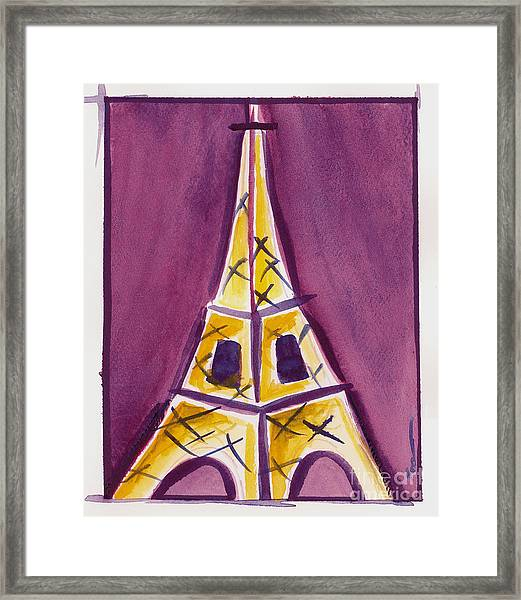 Eiffel Tower Purple And Yellow Framed Print
