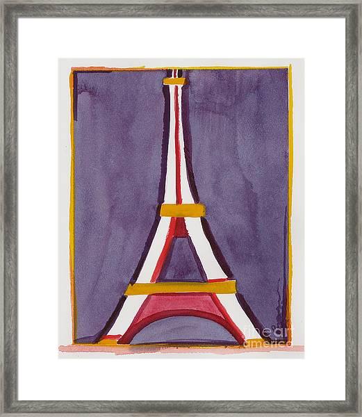 Eiffel Tower Purple Red Framed Print
