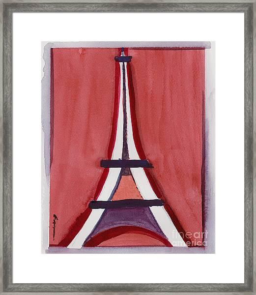 Eiffel Tower Red White Framed Print