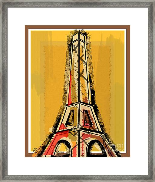 Eiffel Tower Yellow Black And Red Framed Print