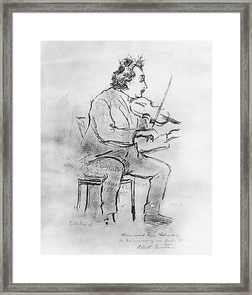 Einstein Playing The Violin Framed Print by Emilio Segre Visual Archives/american Institute Of Physics