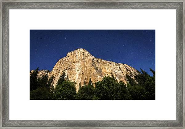 El Capitan Under A Starry Moonlit Night Framed Print by Russ Bishop