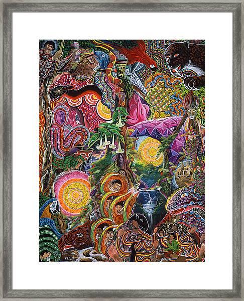 Framed Print featuring the painting El Encanto De Las Piedras by Pablo Amaringo