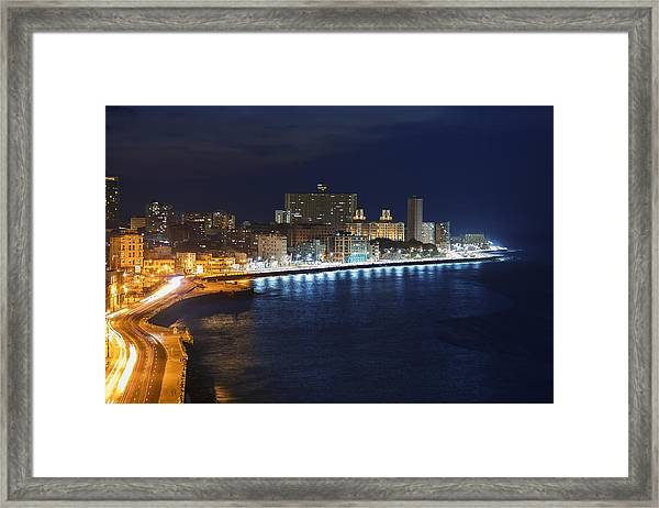 El Malecon, At Night, Havana, Cuba Framed Print by B&M Noskowski