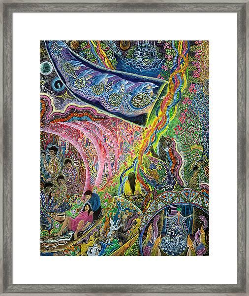 Framed Print featuring the painting El Principio De La Vida by Pablo Amaringo