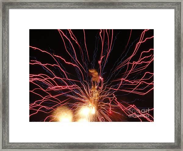 Electric City Fireworks 2013 Xv Framed Print by Daniel Henning