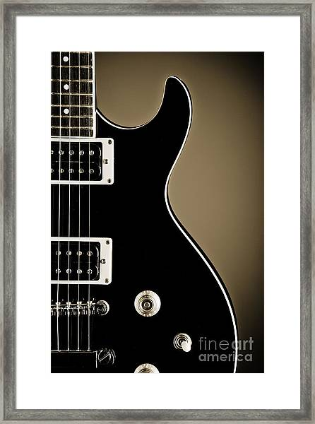 Electric Guitar Photograph In Black And White Sepia 3319.01 Framed Print