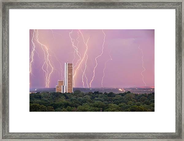 Electric Night - Cityplex Towers - Tulsa Oklahoma Framed Print