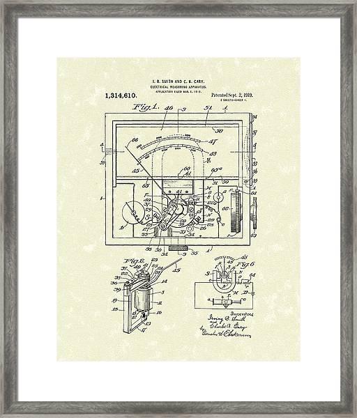 Electrical Meter 1919 Patent Art Framed Print