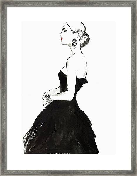 Elegant Haughty Woman Wearing Strapless Framed Print