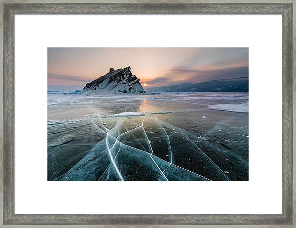 Elenka Island On Lake Baikal In Winter Framed Print by Anton Petrus