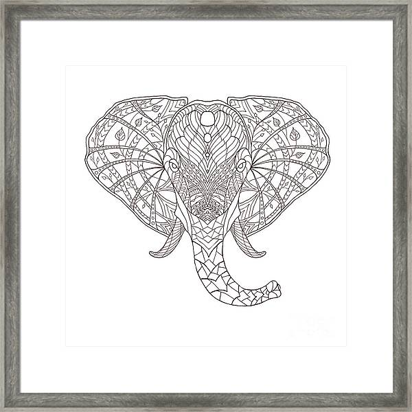 Elephant. Black And White Hand Drawn Framed Print