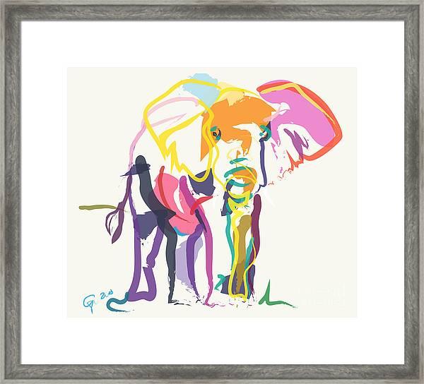 Elephant In Color Ecru Framed Print