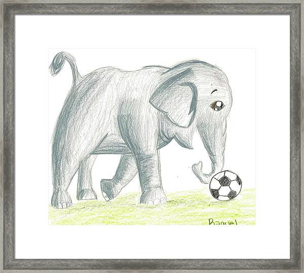 Elephant Playing Soccer Framed Print by Raquel Chaupiz