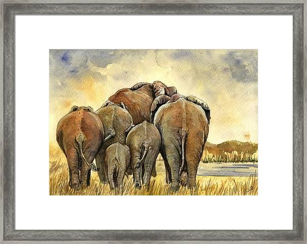 Elephants Herd Framed Print