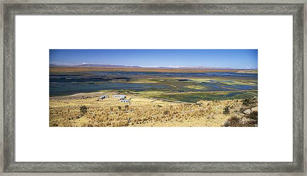 elevated view of Lake Titicaca, Peru, South America Framed Print by Gavin Hellier / robertharding