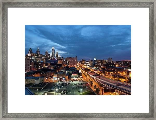 Elevated View Of Philadelphia Skyline Framed Print
