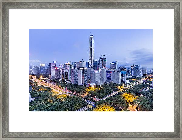 Elevated View Of Shenzhen Skyline Framed Print by Liao Xun