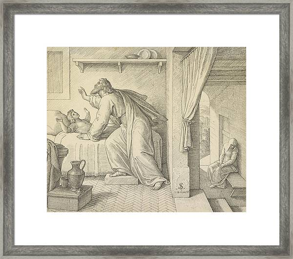 Elijah Revives The Son Of The Widow Of Zarephath Julius Framed Print