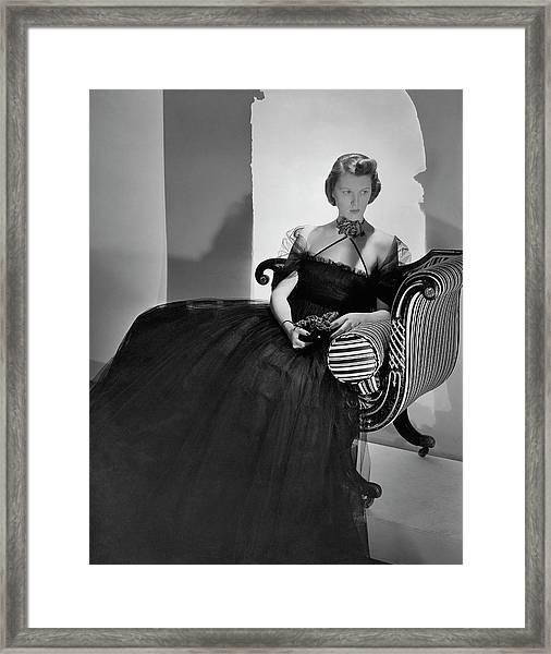 Ellen Astor Wearing A Tulle Dress Framed Print by Horst P. Horst
