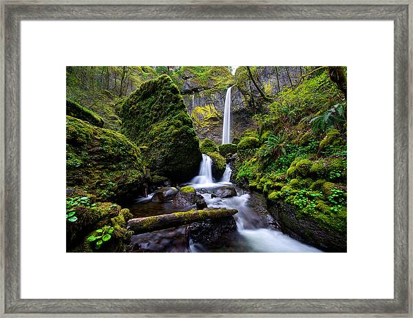 Framed Print featuring the photograph Elowah Falls by Dustin  LeFevre