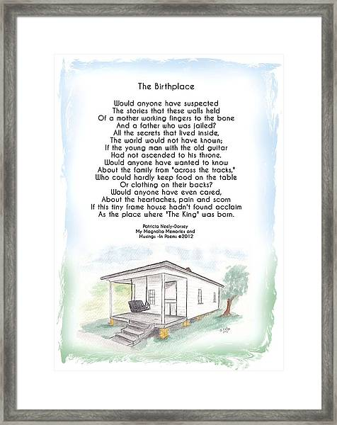 Elvis - The Birth Place Framed Print by Patricia Neely-Dorsey